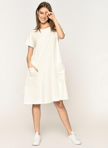 Loves You Cep Detaylı Likra Supreme Elbise Ekru